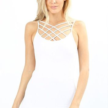 Seamless Triple Criss-Cross Front Cami With Adjustable Straps in White