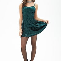 FOREVER 21 Velveteen Skater Dress Green