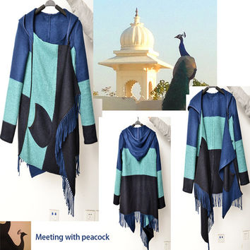 Meet with peacock - shawl jacket with hood (Y5108)