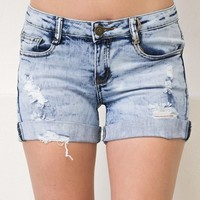 Light Acid Wash Shorts