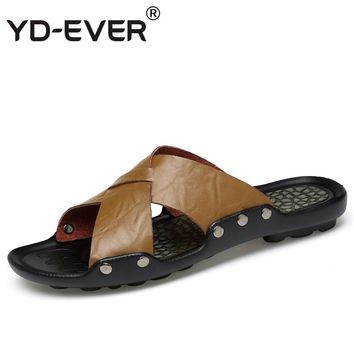 YD-EVER genuine leather men sandals handmade Summer fashion brand beach slippers casual moccasin Handmade soft shoes 1706