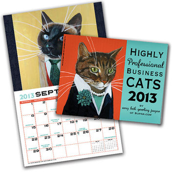 Business Cats Wall Calendar 2013 by supah on Etsy