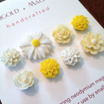 summer flowers, small strong magnets, set of 8, yellow & white roses, daisies  dorm decor, hostess gift, gardener, magnetic bulletin board