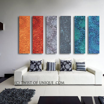Colorful AcryliCrete Abstract painting CUSTOM 6 panel ( 40 Inch & Shop Orange Wall Paint Colors on Wanelo