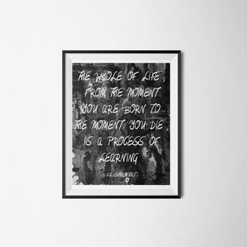 Process of Learning Krishnamurti Inspirational Quote - Philosophy Quote Printable Wall Art - Educational Quote Typographic Art Poster
