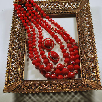 Vintage Red Goldtone 3 Strand Plastic Bead Necklace Clip Earring Set Demi Parure Necklace Signed Hong Kong Vintage Jewelry Set