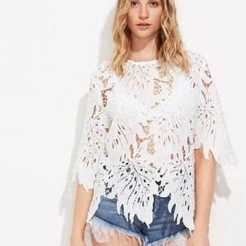 Romantic Botanical Lace Top