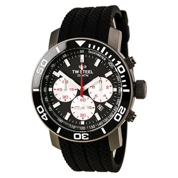 TW Steel TW705 Men's Grandeur Diver Grey & Black Dial Black Silicone Strap Chronograph Dive Watch