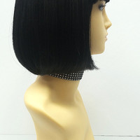 Black Short Bob Wig Straight w/ Bangs. Page Boy Wig. Mia Wallace Style Wig. [08-34-PageBoy-1]