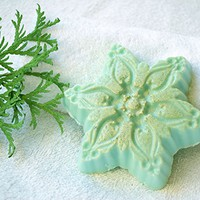 Christmas soap Snowflake soap Holiday soap stocking stuffer Christmas party favors Winter soap Handmade soap White Clay soap vegan soap natural soap Holiday gift
