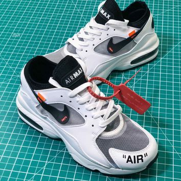 Off White X Nike Air Max 93 Black Sport Running Shoes - Best Online Sale