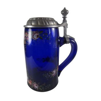Pre-owned German Cobalt Glass Beer Stein