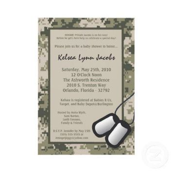 5x7 ARMY Camo ACU Print Baby Shower Invitation from Zazzle.com