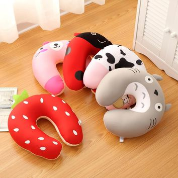 New invention comfortable Multi-Color Cartoon U Shaped Office Flight neck travel pillow automatic Neck Support Head Rest Cushion