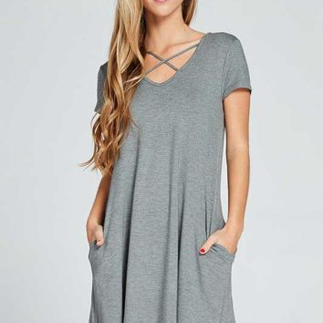Lime N Chili Criss Cross Dress with Short Sleeves for Women in Charcoal LD8008-CHARCOAL