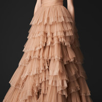 Tulle and Silk Organza Bustier Evening Gown