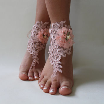 Blush Pink Beaded Beach Wedding Barefoot Sandals Wedding Shoe Barefoot Sandals Prom Party Bridal Bangle Beach Anklets Bridesmaid