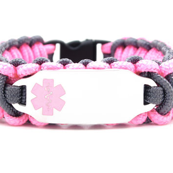 275 Paracord Bracelet with Engraved Stainless Steel Medical Alert ID Tag - Light Pink