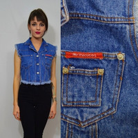 90s Denim Vest Frayed Small Vintage Soft Grunge Biker Babe Women's Clothing Blue Jean Cutoff Jacket Cropped No Excuses Hipster 1990s Tumblr