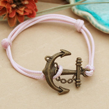 Anchor-girls anchor charm bracelet with pink string, anchor bracelet for girls gift