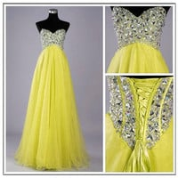 Stunning Yellow A-line Sweetheart Sweep Train Prom Dress