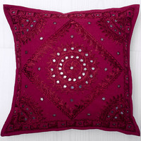 Maroon Throw Pillow, Handmade Indian Mirror Work Pillow, Decorative Gypsy PIllow, Ethnic Indian Floor Pillow, Bohemian Pillow