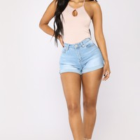 No More Trouble High Rise Shorts - Light Blue Wash