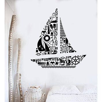 Wall Sticker Vinyl Decal Ship Yacht Ocean Sea Marine Decor Kids Room Unique Gift (ig3095)