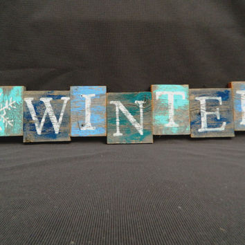 "Handpainted Reclaimed Aged Blues Painted wood Art, Very Rustic and Shabby chic Sign ""WINTER"" Pallet art"