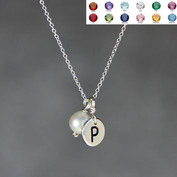 Silver Personalized intial monogram birthstone charm necklace Bridesmaids gifts Free US Shipping handmade Anni Designs