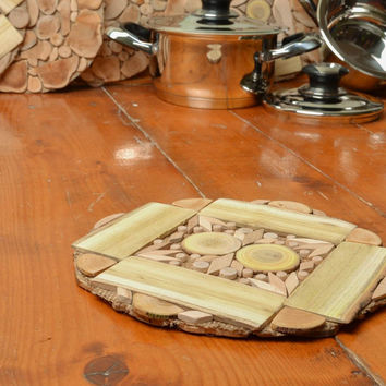 Wooden handmade trivet for teapot interior kitchen decorations eco products
