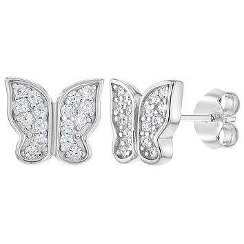 925 Sterling Silver Clear CZ Butterfly Stud Earrings for Girls Teens