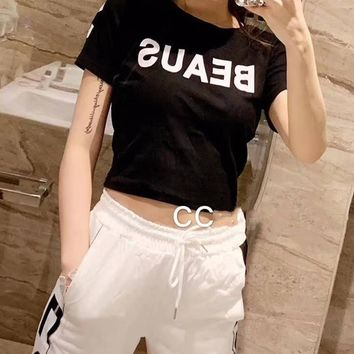 Women Casual Wild Fashion Letter Printing Short Sleeve Trousers Two-Piece Casual Wear