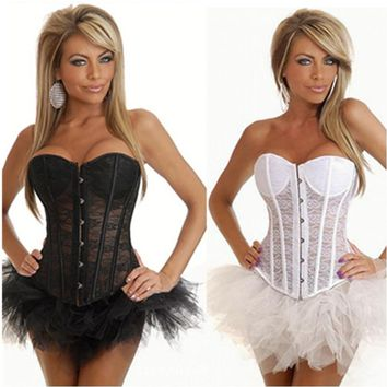 NEFUTRY Women Sexy Corset Overbust See Through Corselet Waist Trainer Corset Top Black White Corsage Lace Embroidery Bustier
