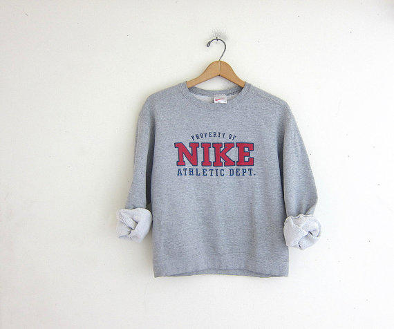 Vintage gray nike sweatshirt cotton from dirty birdies for Old school nike shirts