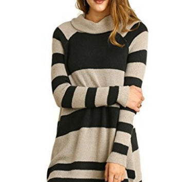 Umgee Women's Long Sleeve Striped Cowl Neck Sweater Tunic