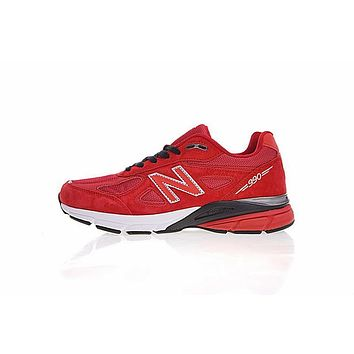 New Balance in USA M990V 4 Retro Running Shoes Red&White 990RD4