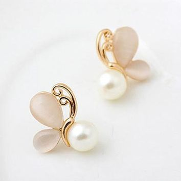 Fashion Gold Opal Earrings for Women Simulated Pearl Jewerly Butterfly Stud Boucle d'oreille Christmas Gifts Brincos