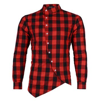 Long Sleeve Plaid Flannel Men Shirt  Slim Fit Mens Casual Shirts Free Shipping