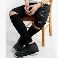 Men's Hi-Street Ripped Biker Motorcycle Skinny Slim Fit Black Denim Destroyed Swag Joggers Jeans