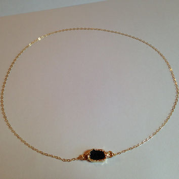 Baby Black Druzy Agate Gold Edged Connector Necklace