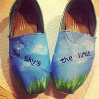 The Sky's the Limit Handpainted Toms Shoes by missjanellexo