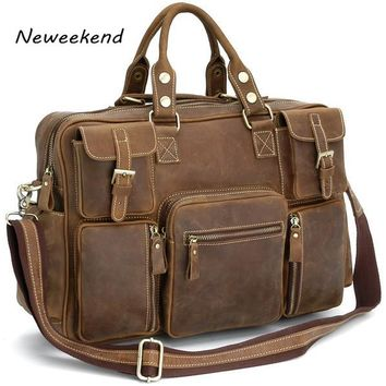 Vintage Crazy Horse Genuine Leather Shoulder Crossbody Travel Bag Men Duffel Luggage Large Laptop Handbag Tote Pockets 3061