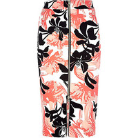 River Island Womens Coral floral print zip front pencil skirt