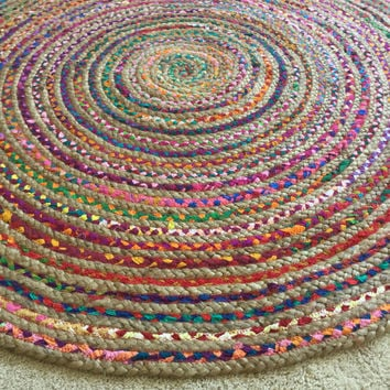 Round Rag Rug, Boho Chic Hippie Area Rug, 4' Circle Colorful Jute and Cotton Rugs, Indoor Outdoor, Braided Large Floor Rug, FREE US Shipping
