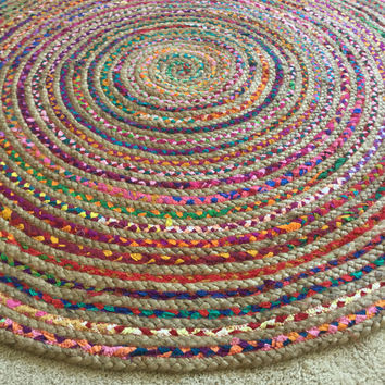 Round Rag Rug, Boho Chic Hippie Area Rug, 4u0027 Circle Colorful Jute And