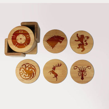 Personalized Game Of Thrones Coaster Set, Custom Wood Coaster, Round Wood Coaster, Engraved Coasters --6098