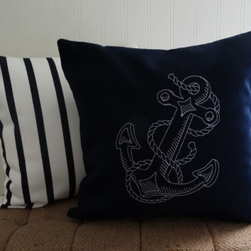 Sunbrella 14 x 14 Embroidered Anchor Pillow, Indoor Outdoor Canvas Pillow, Beach Pillow, Throw Pillow, Navy Blue Embroidered Pillow Cover