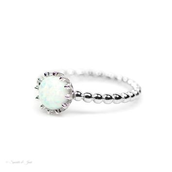 Sterling Silver Small Round White Opal Crown Ring