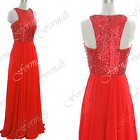 Straps Long Sequined and Chiffon Red Prom Dresses, Red Evening Gown, Wedding Party Dresses, Formal Gown